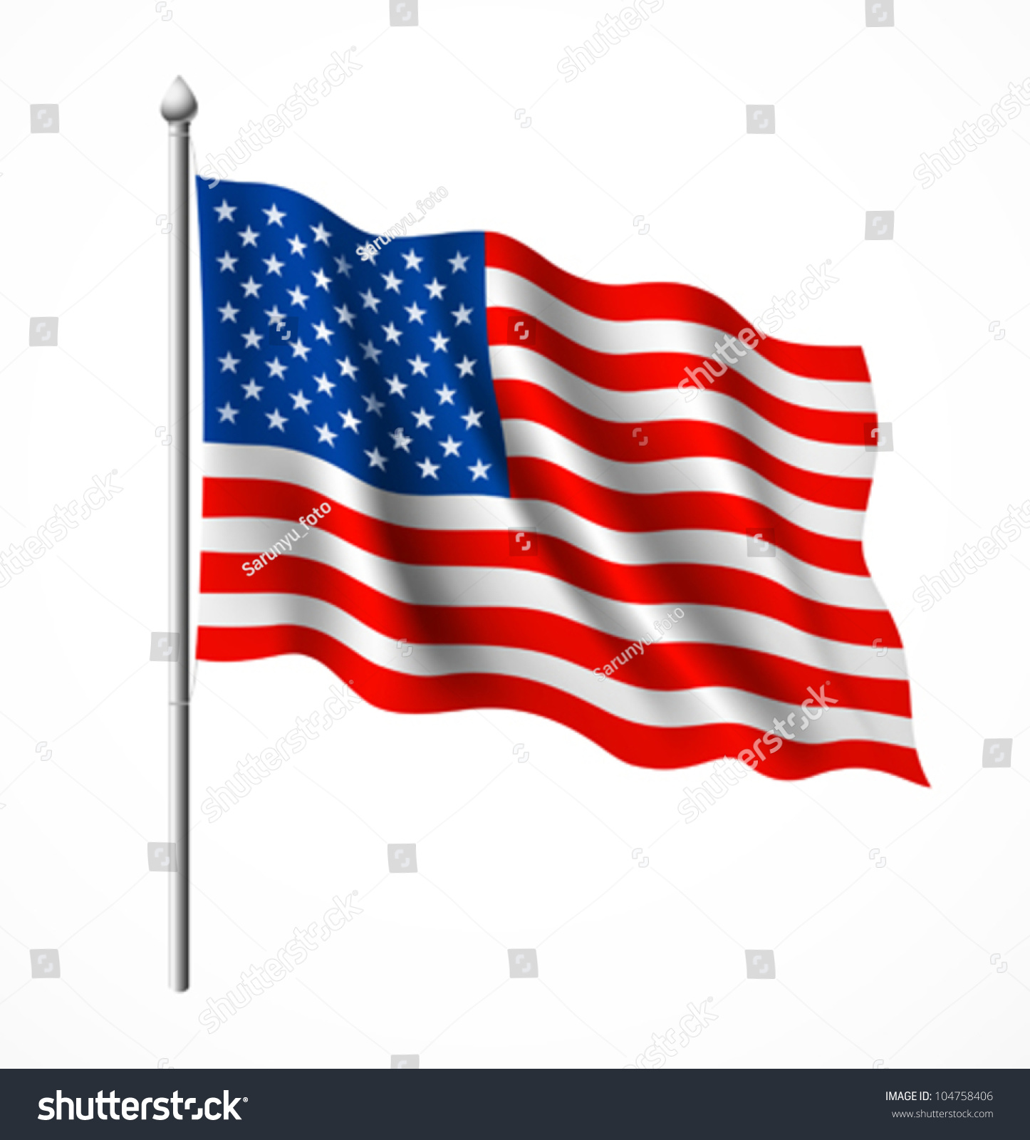 American Flag Vector Illustration Stock Vector 104758406
