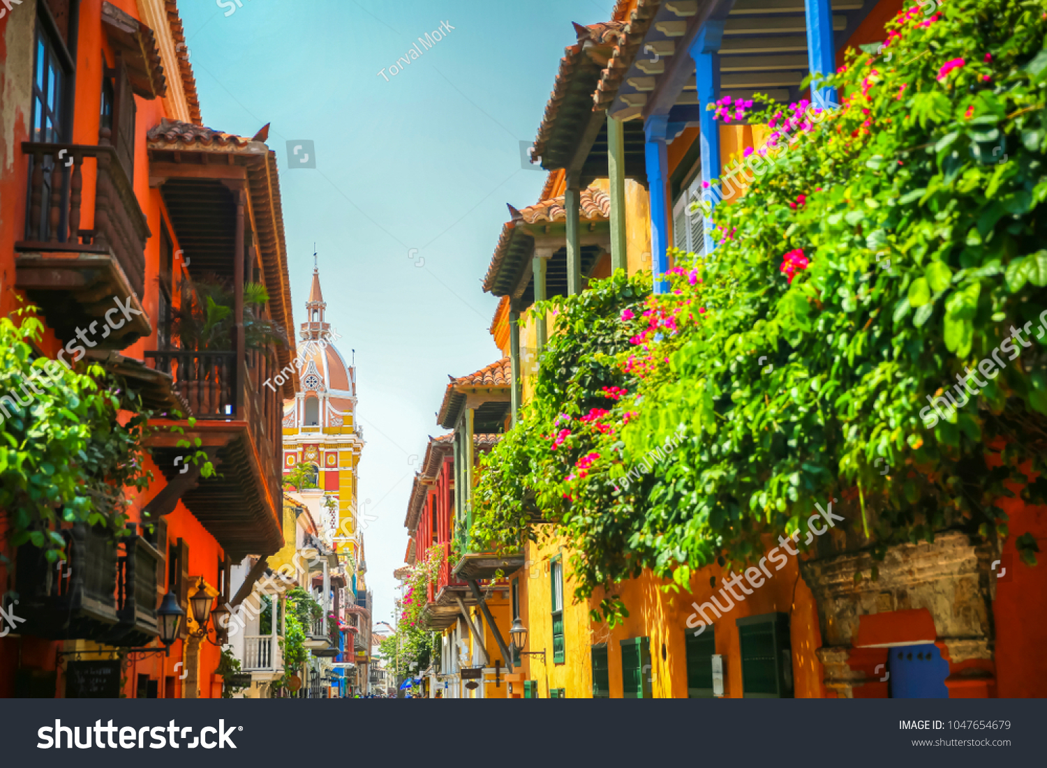 Cartagena Colombia sights looking towards town square #1047654679