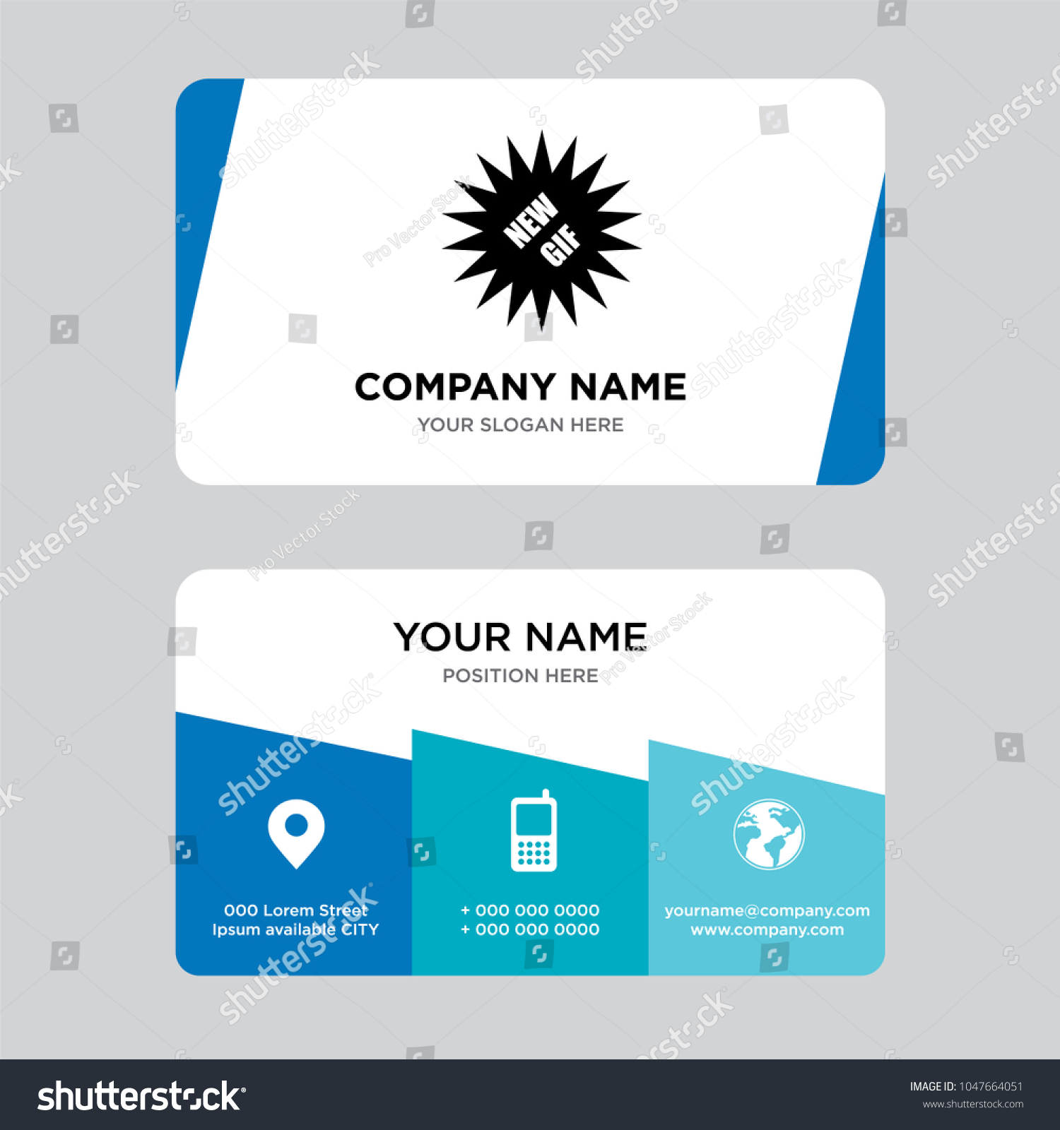 New gif business card design template stock vector 1047664051 new gif business card design template visiting for your company modern creative and clean friedricerecipe Image collections
