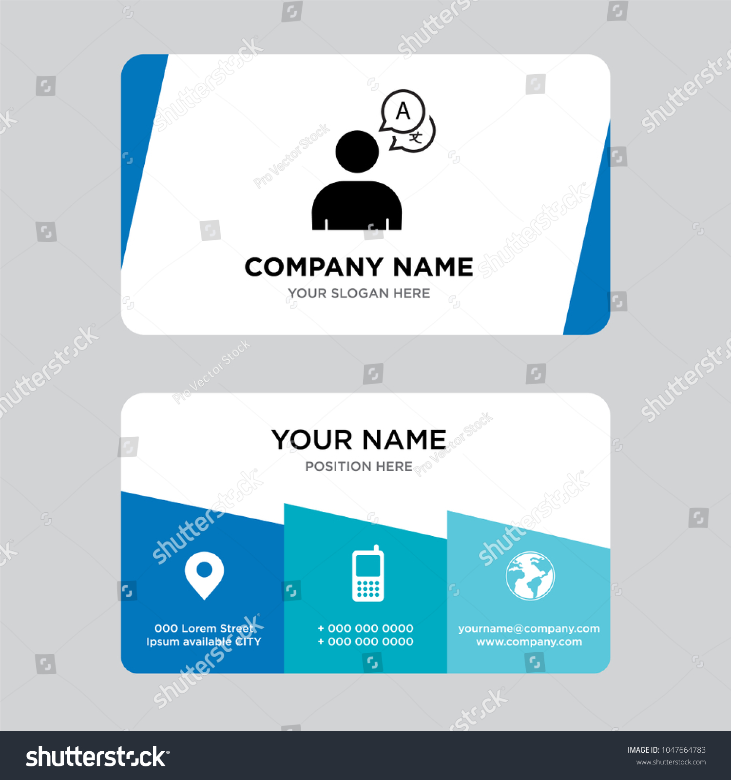 Bilingual Business Card Design Template Visiting Stock Vector ...