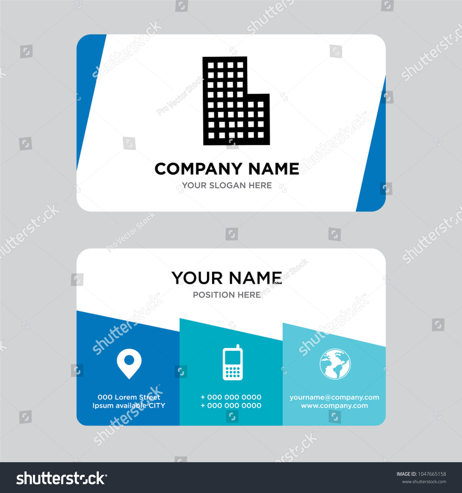 City Building Business Card Design Template Stock Vector 1047665158 ...