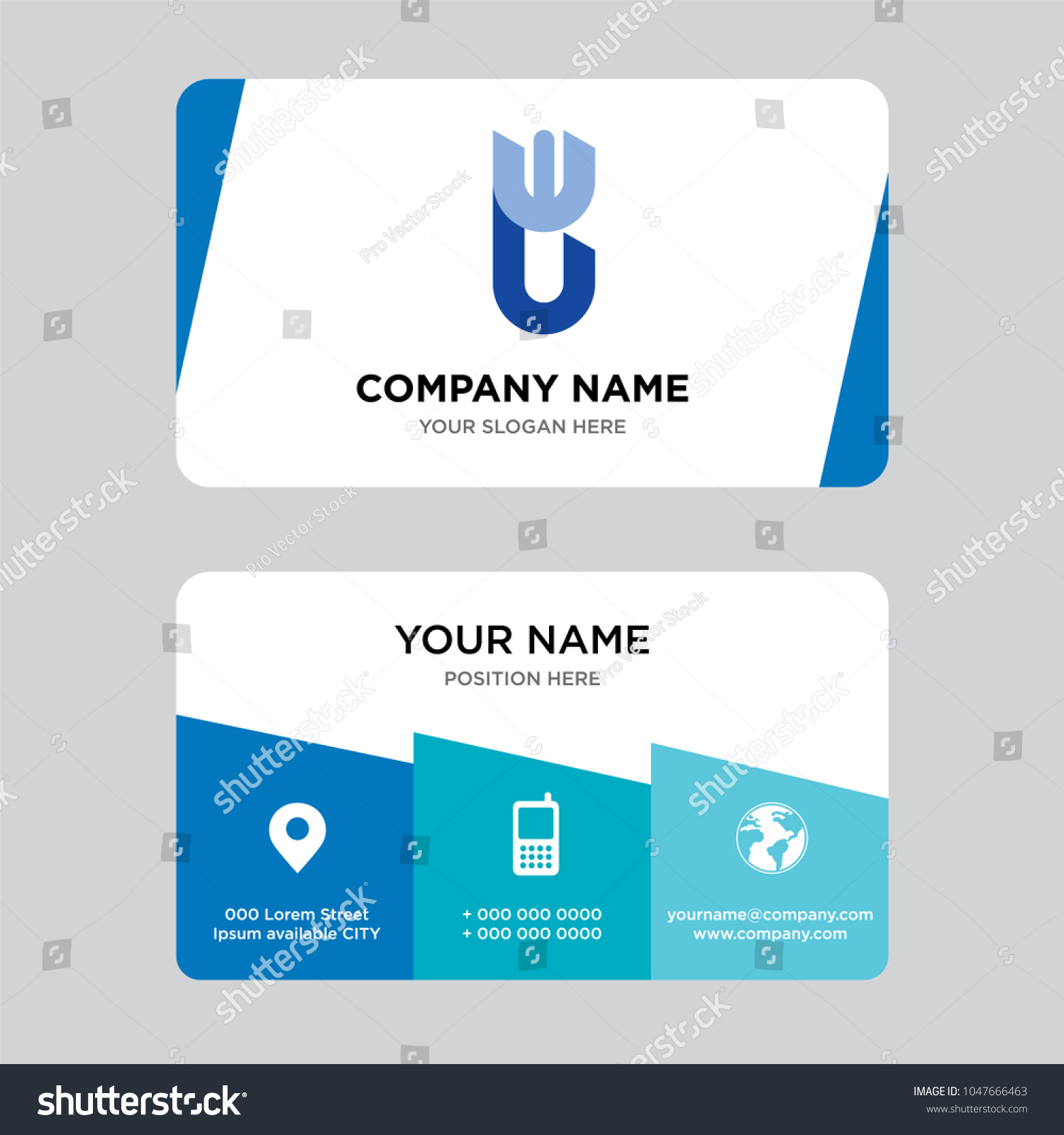 WU UW Business Card Design Template Stock Vector (2018) 1047666463 ...