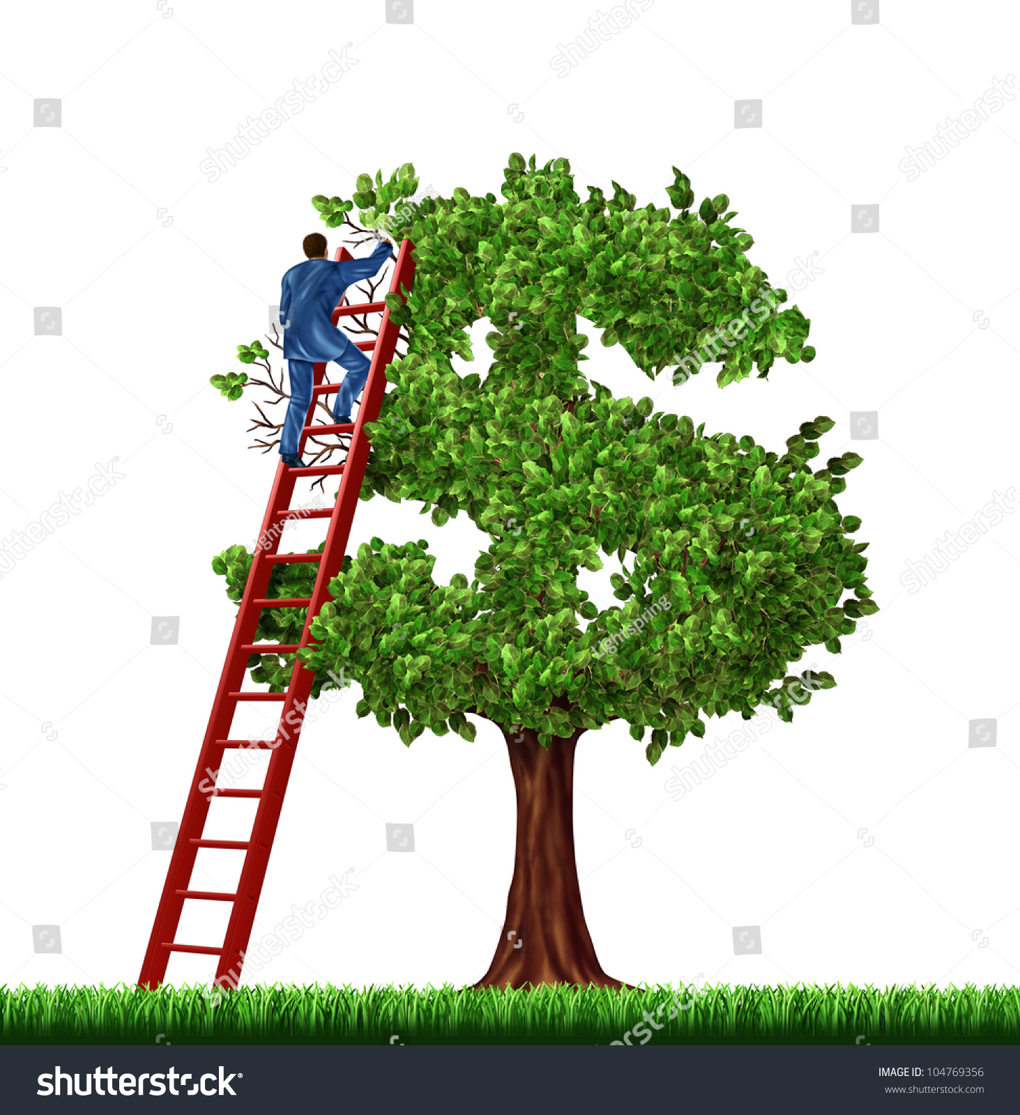Finance Tree: Wealth Management Financial Advice Businessman On Stock