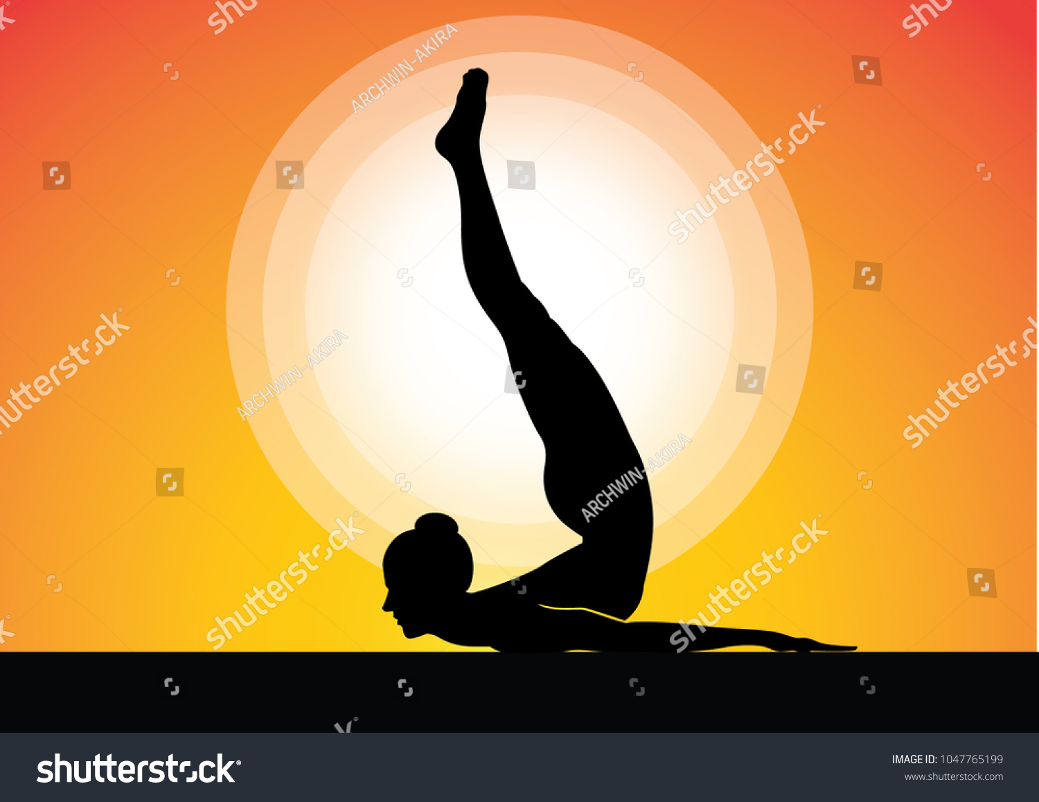 Vector Illustration Yoga Poses Silhouette Sunset Stock 1047765199