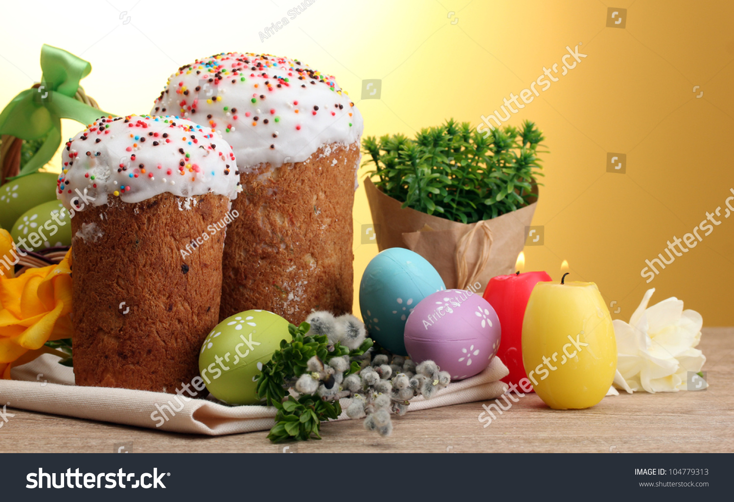 beautiful easter cakes colorful eggs and candles on