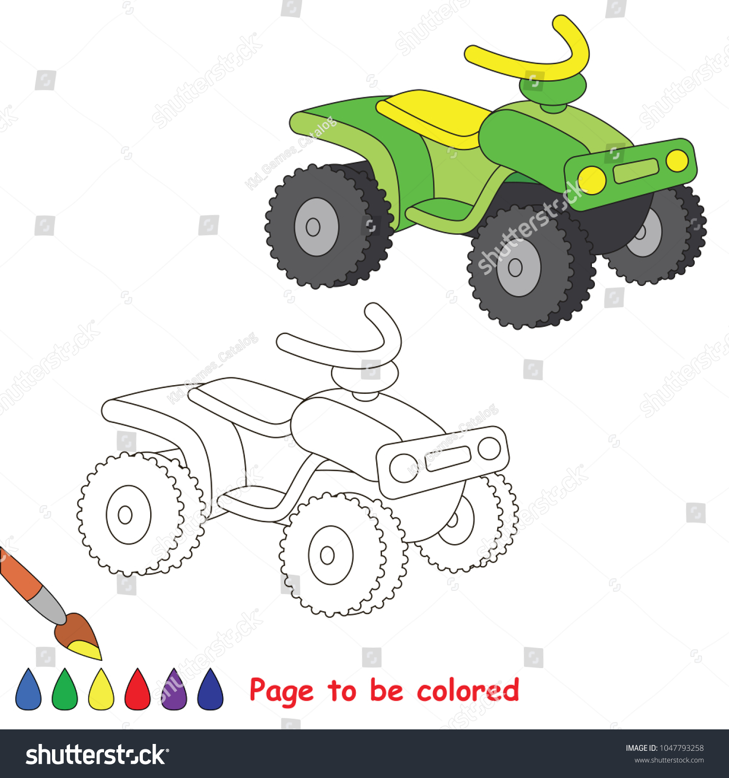 Green Quad Bike Be Colored Coloring Stock Vector (Royalty Free ...