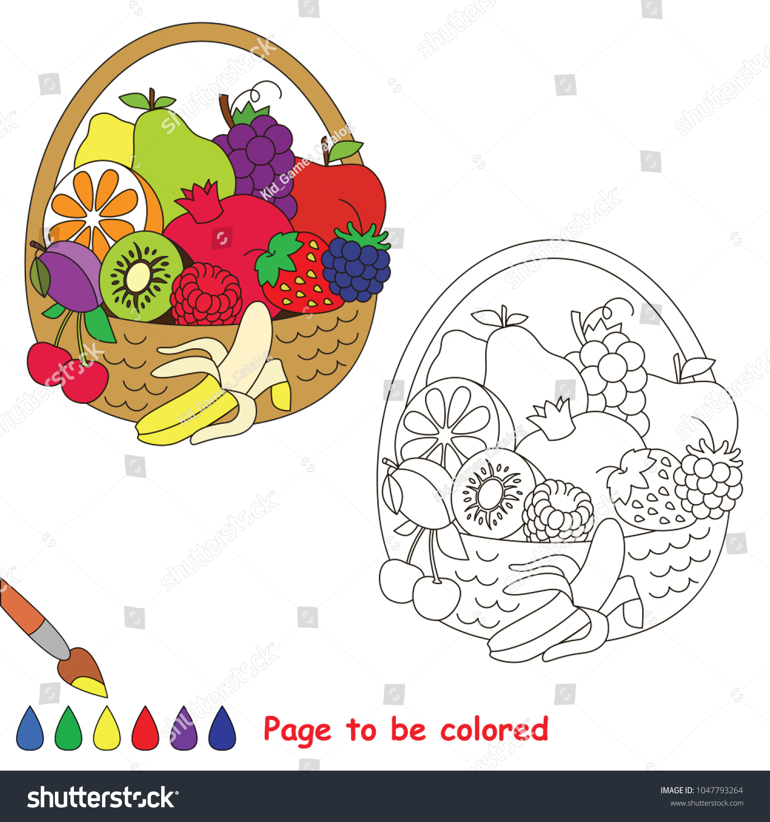 Fruit Basket Be Colored Coloring Book Stock Vector Royalty Free