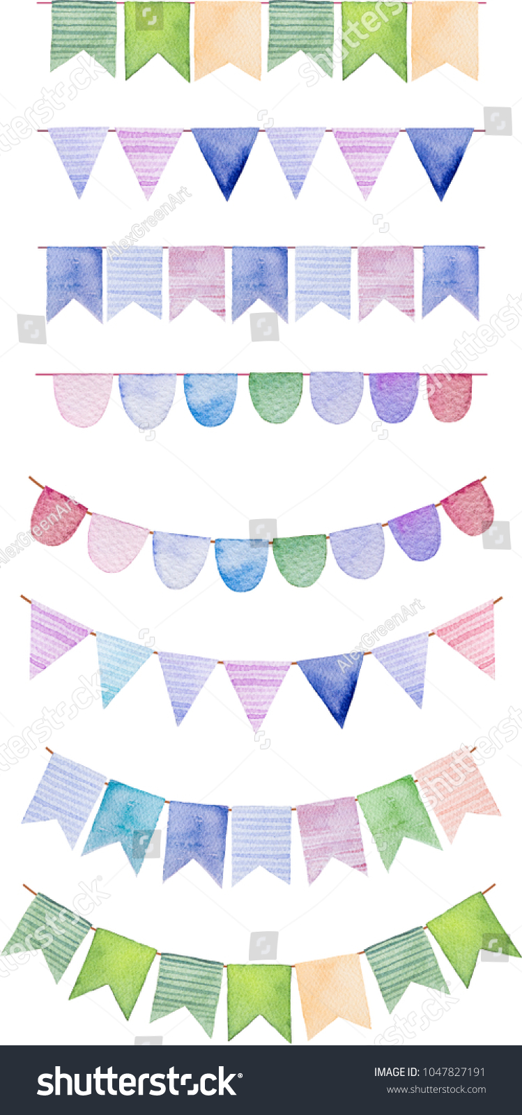 Watercolor Bright Color Set Flags Garlands Stock Illustration ...