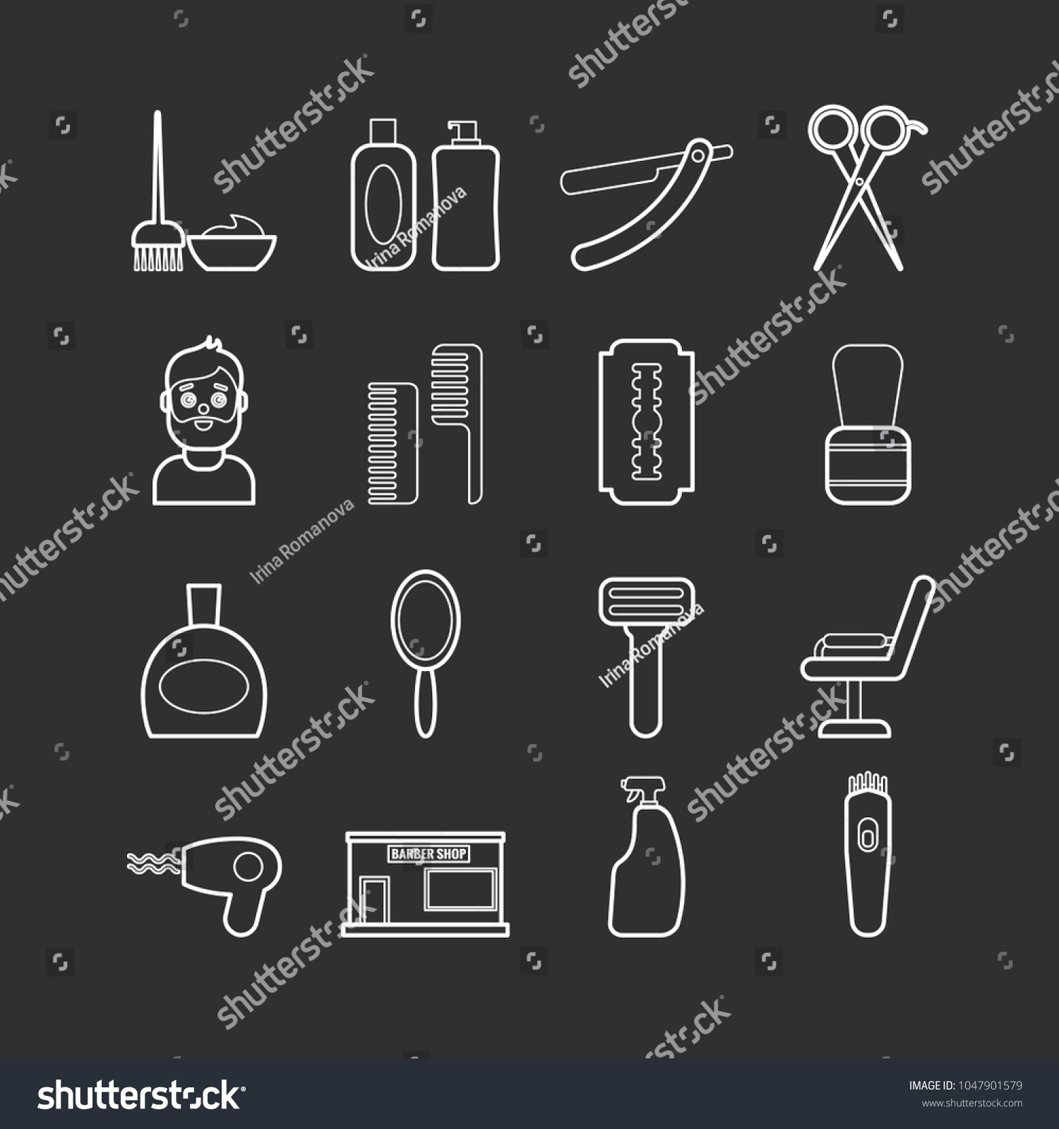 Collection Vector Line Barber Tools Icons Stock Vector (Royalty Free