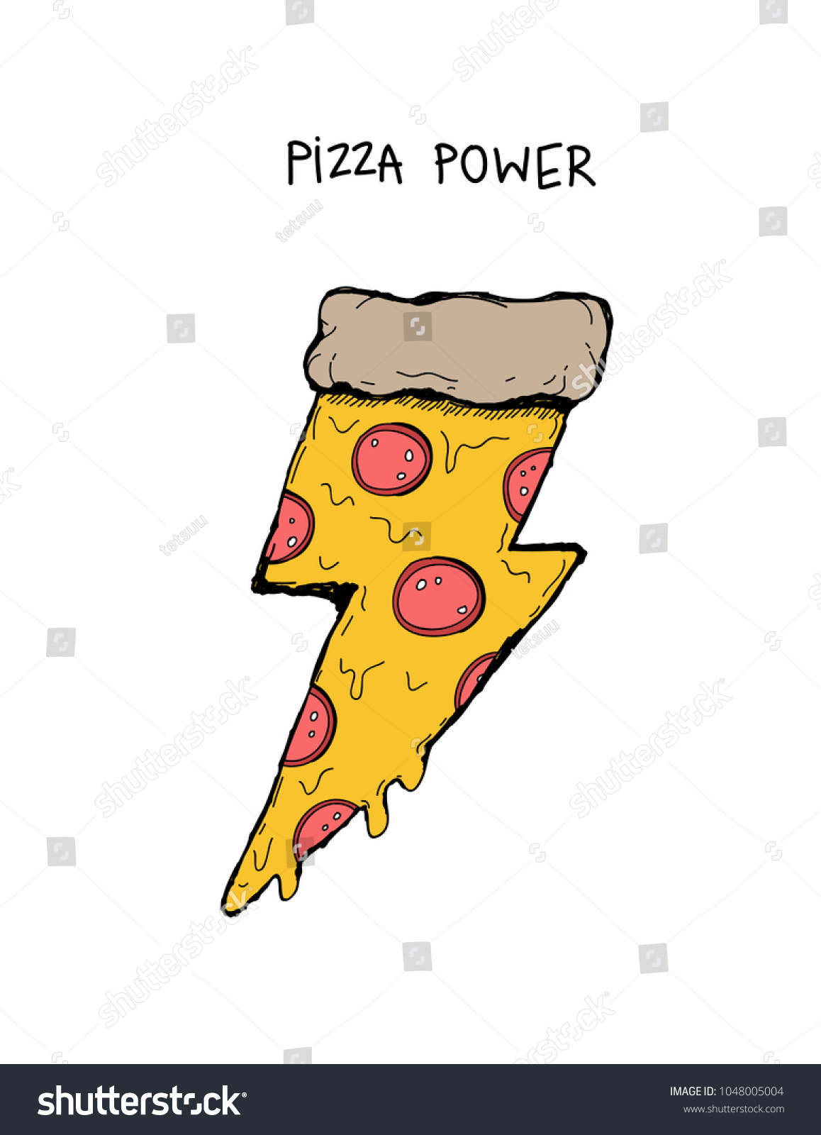 Piece Pizza Salami Shape Lightning Retro Stock Vector 1048005004 ...