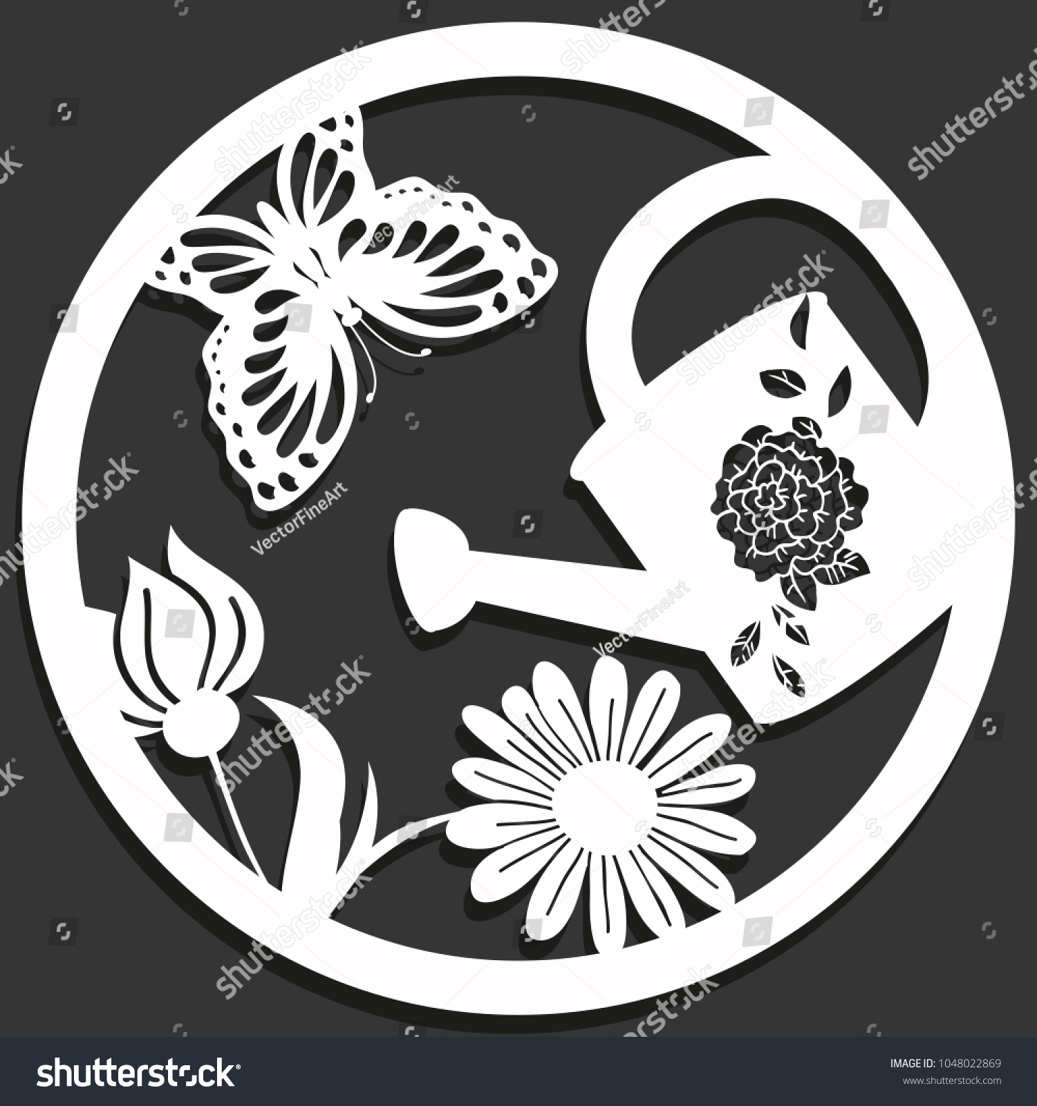 Elegant Vector Paper Cutting Flowers Butterfly Stock Vector Royalty