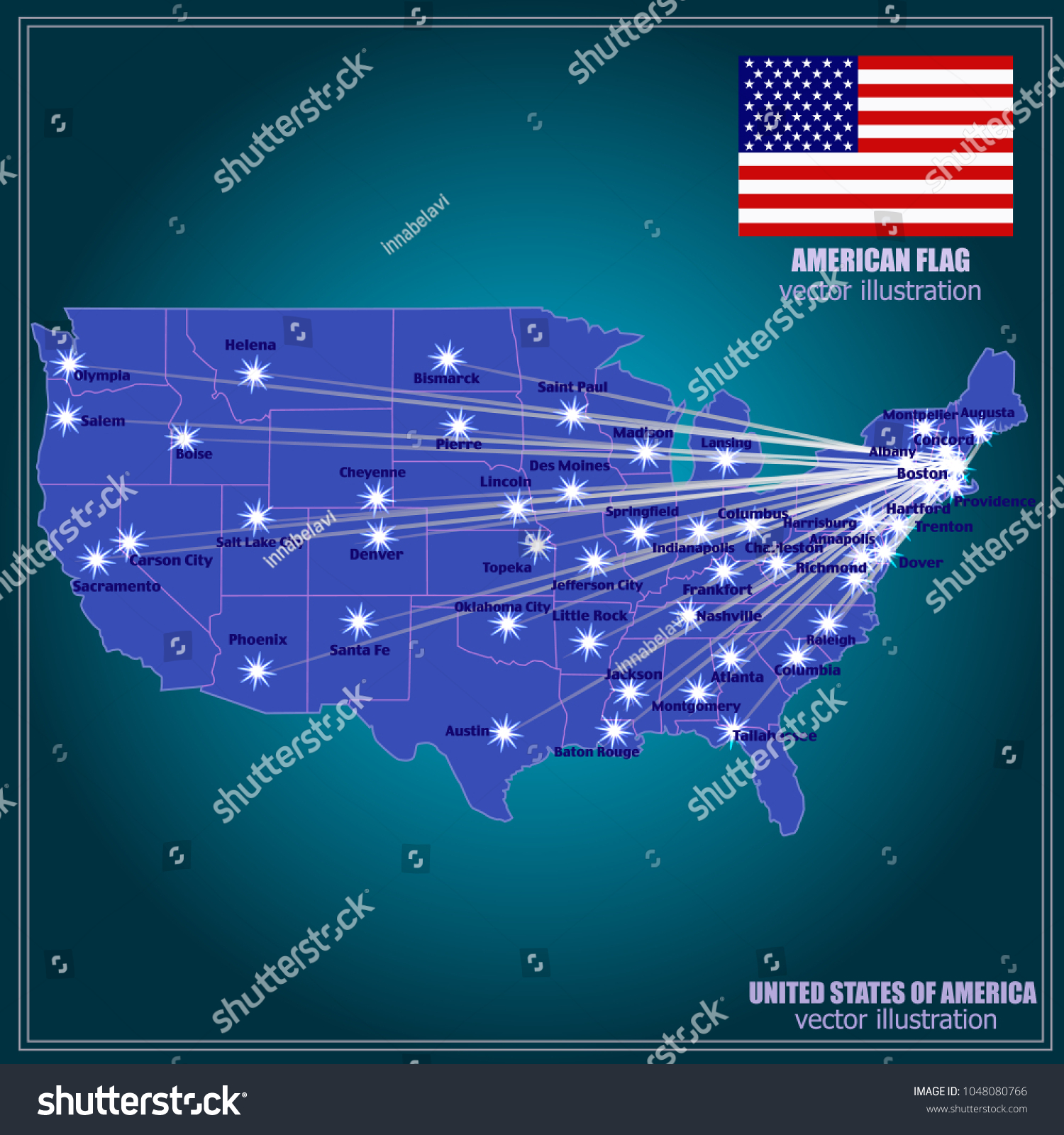 United States America Vector Map USA Stock Vector (Royalty Free ...