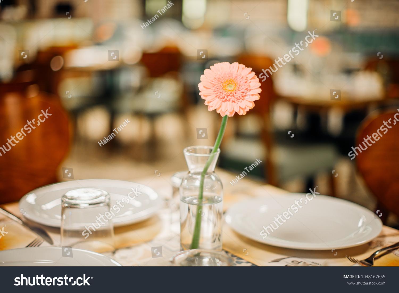 Pink Flower On Restaurant Dinner Table Stock Photo Edit Now