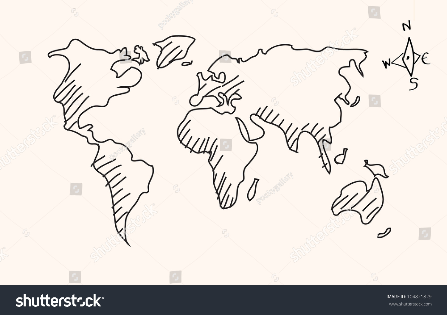 Hand Drawn Map Of The World.Hand Drawn World Map Vector Stock Vector Royalty Free 104821829