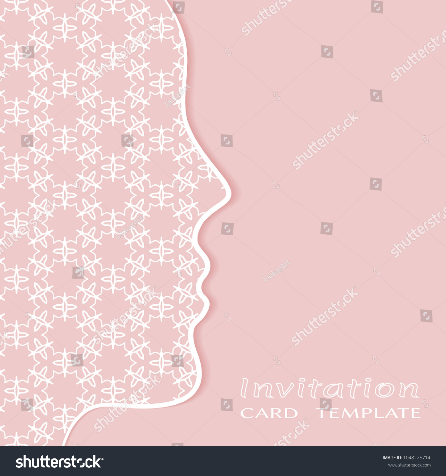 invitation card template lace border cutout stock vector royalty