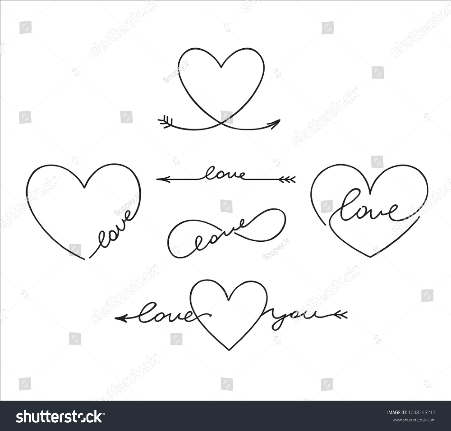 Cute Outlined Tatoo Lettering Romantic Words Stock Vector 1048245217