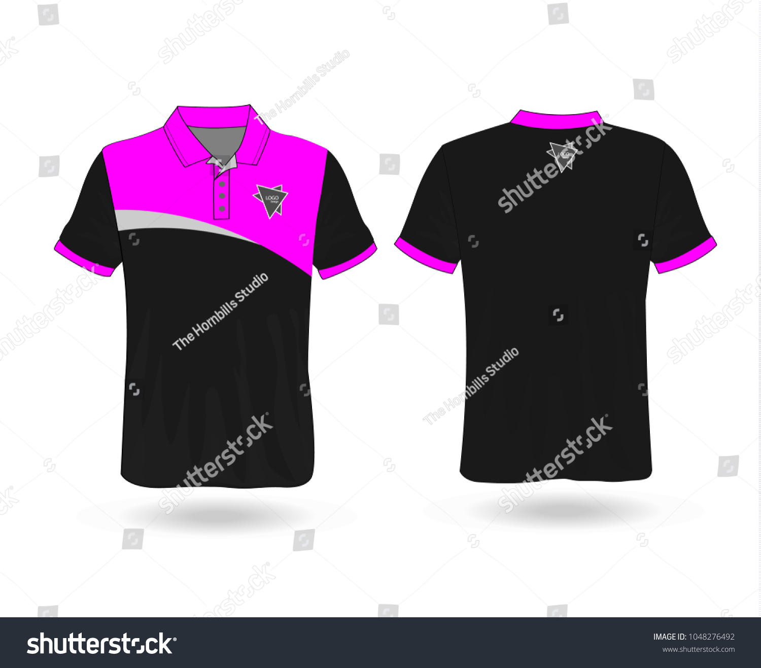 d25f2322 T-shirt Polo design sport with Pink stripe and logo Template for design on  white background. Vector illustration eps 10.
