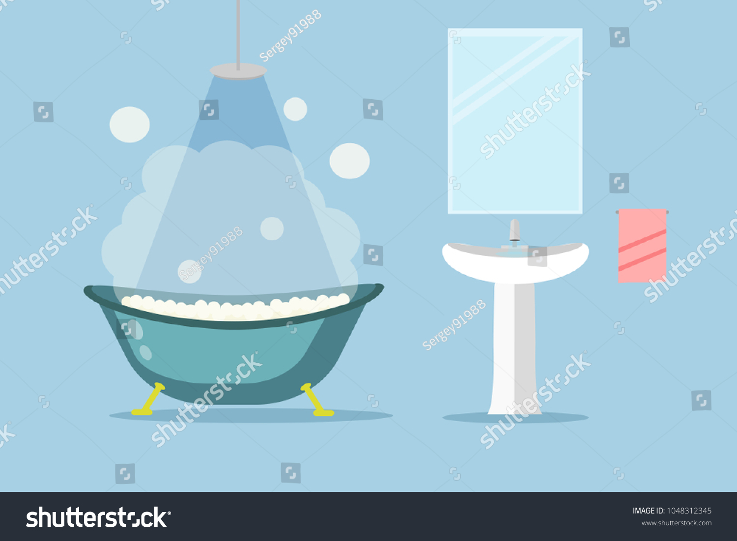 Bathtub Full Foam Bubbles Basin Bathroom Stock Vector 1048312345 ...