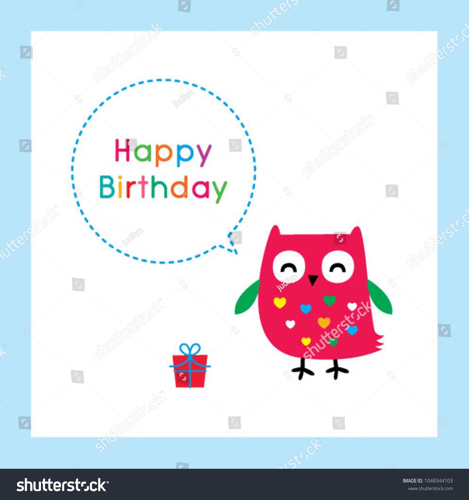 Cute Owl Happy Birthday Greeting Card Stock Vector 1048344103