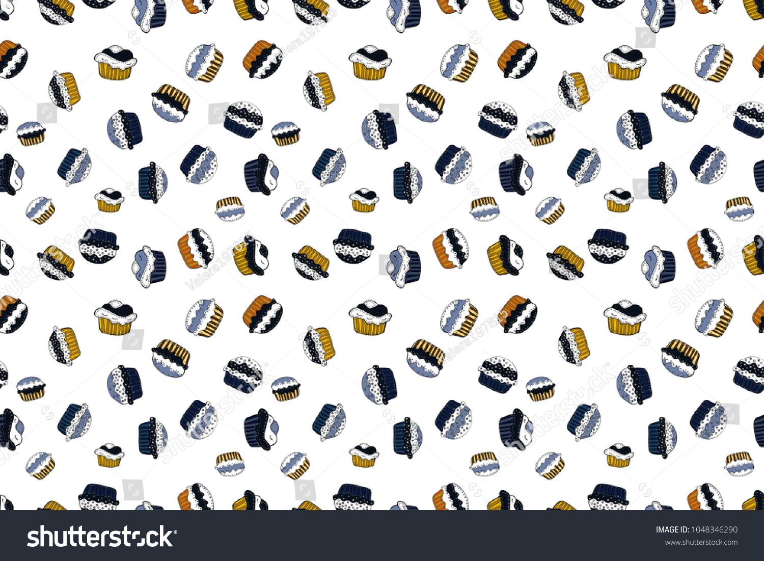 cupcake pattern background happy birthday cupcake stock illustration