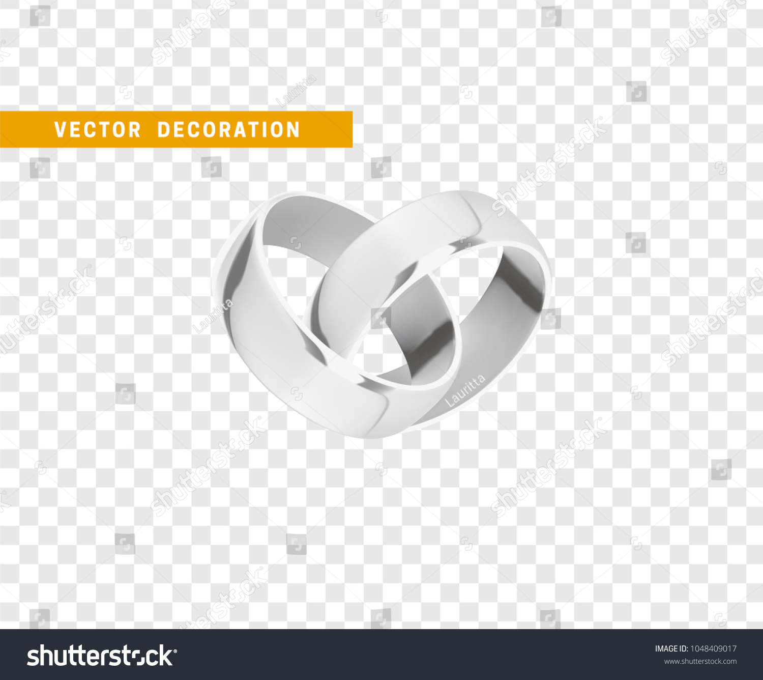 Silver Wedding Rings Realistic Design Isolated Stock Vector Royalty