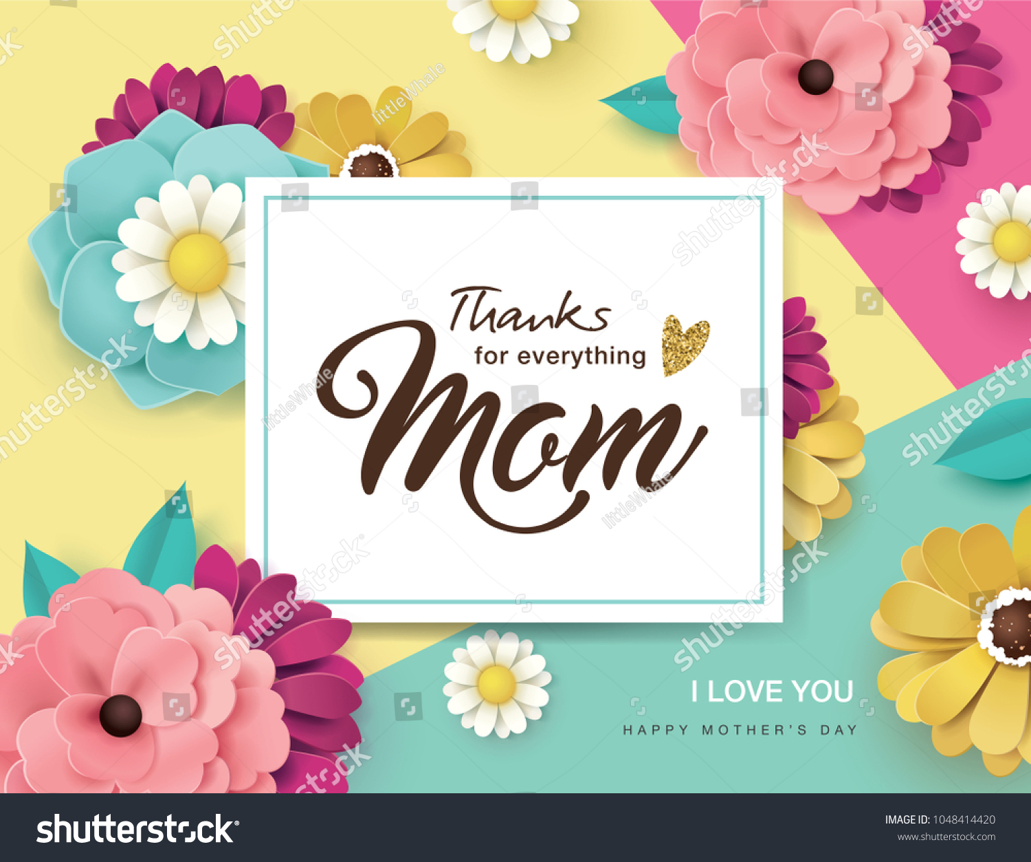 Mothers Day Greeting Card Design Beautiful Stock Vector Royalty