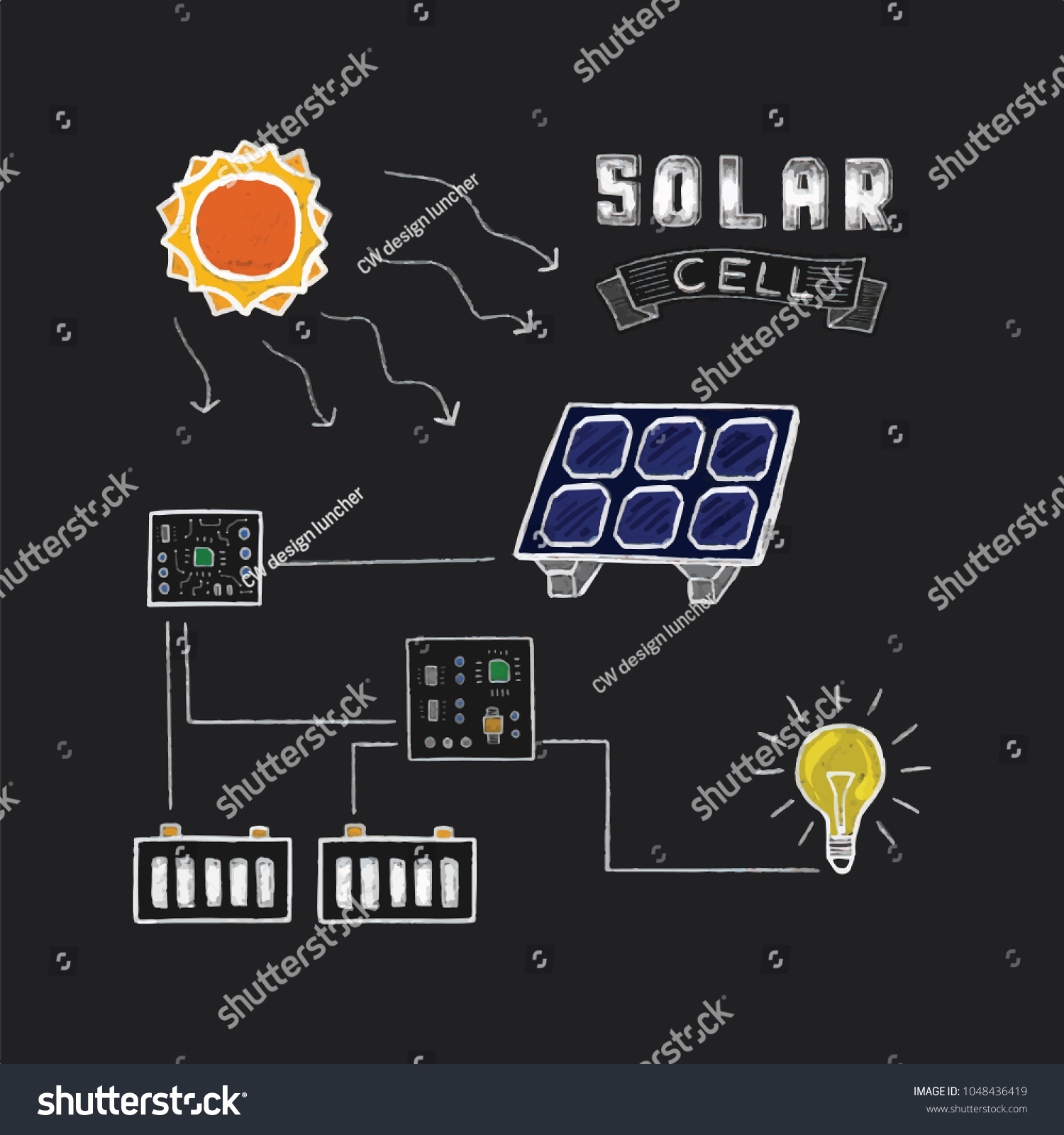 Solar Cell System Simple Circuit Diagram Stock Vector Royalty Free With