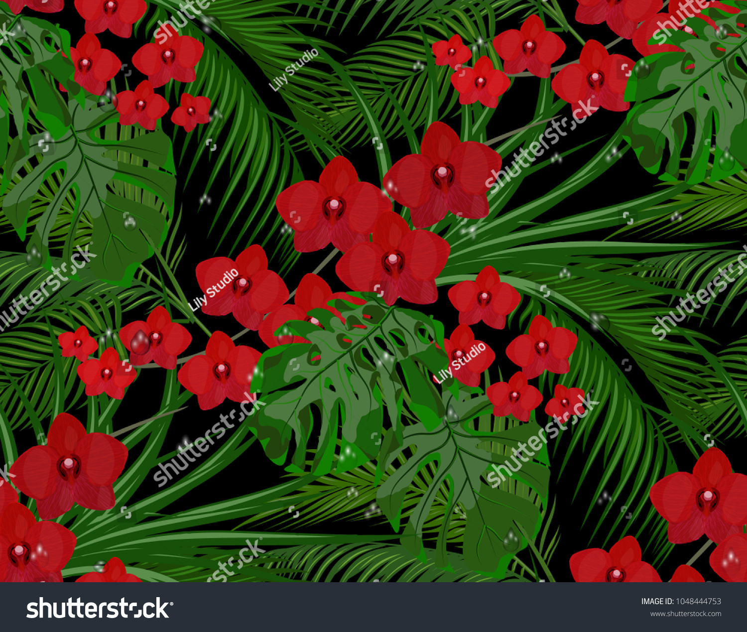 Jungle Green Leaves Tropical Palm Trees Stock Vector 1048444753 ...