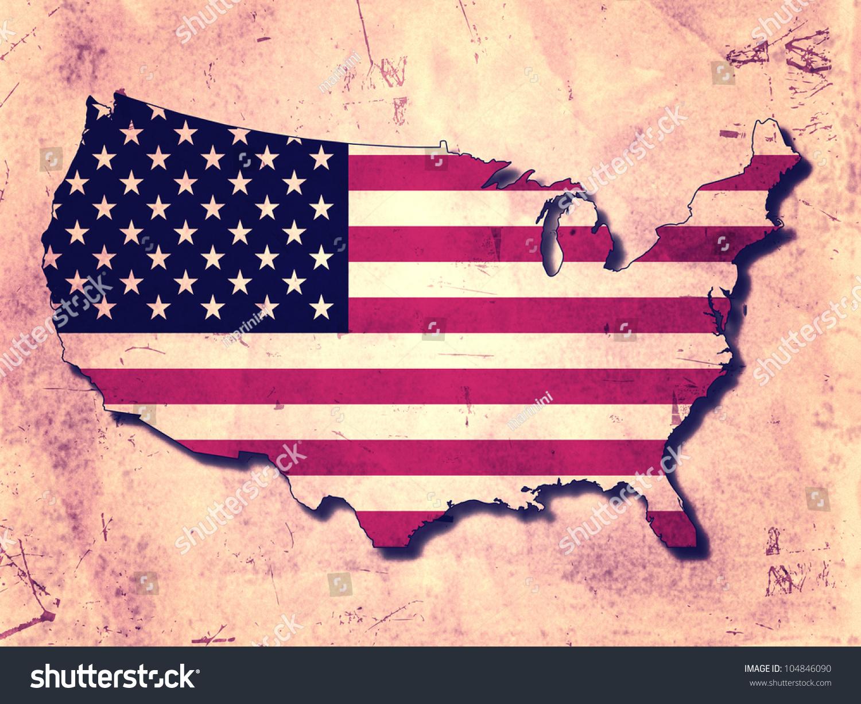 Usa Map Flag Over Old Paper Stock Illustration - Old us map background