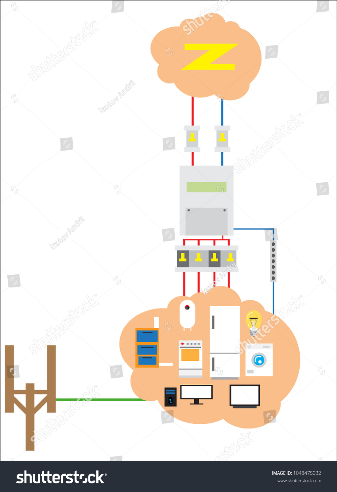 Electric Wiring Plan House Switches Leads Stock Vector 1048475032 ...