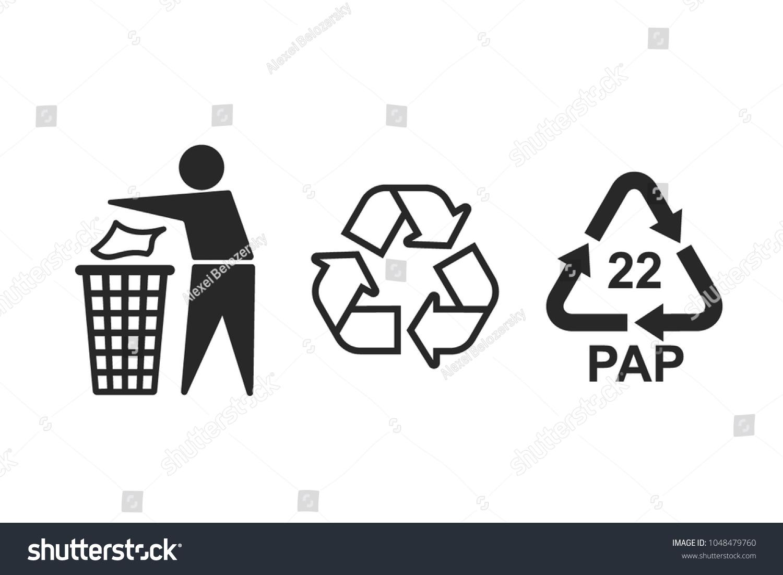 Universal Recycling Symbols International Symbols Used Stock Vector
