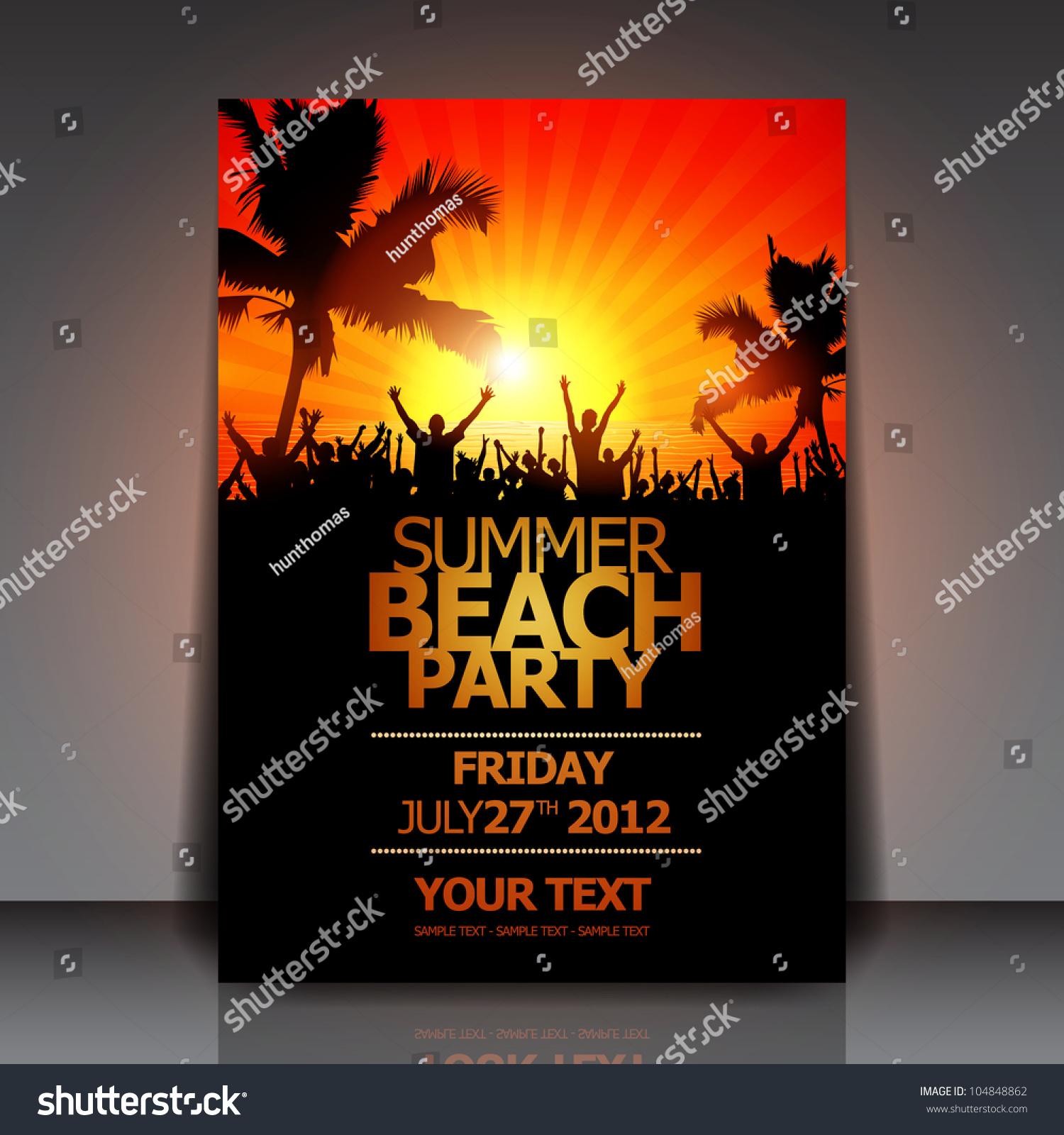 Summer Beach Party Flyer Vector Design Stock Vector