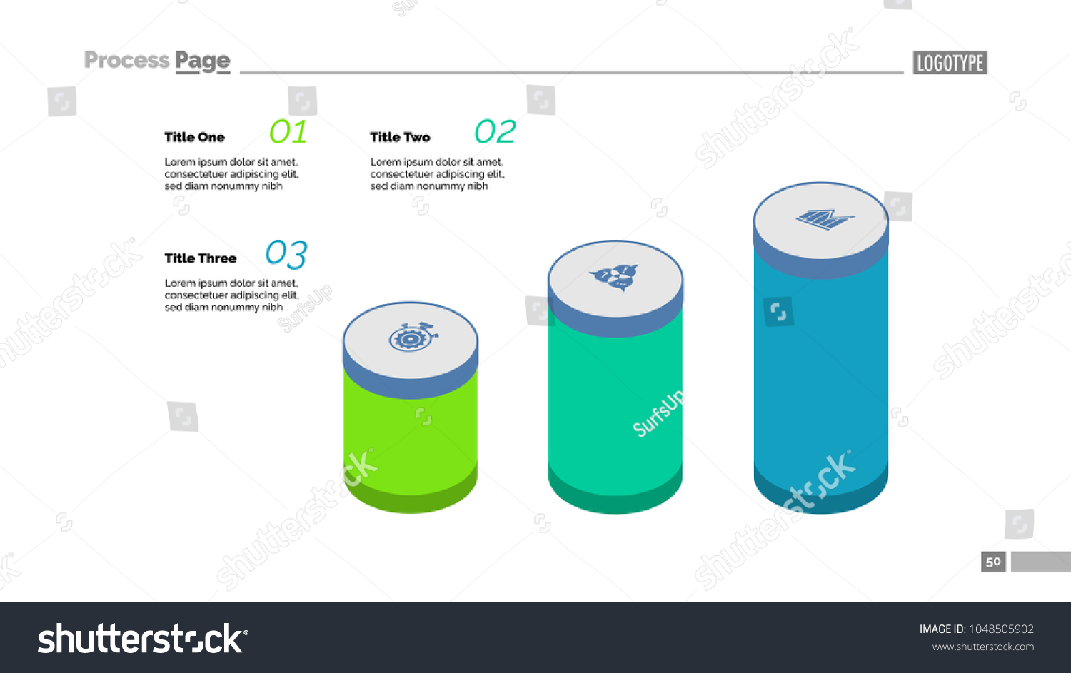 Three Step Process Chart Bar Stock Vector Royalty Free Battery Cell Diagram Editable Powerpoint Template Cylinder Creative Concept