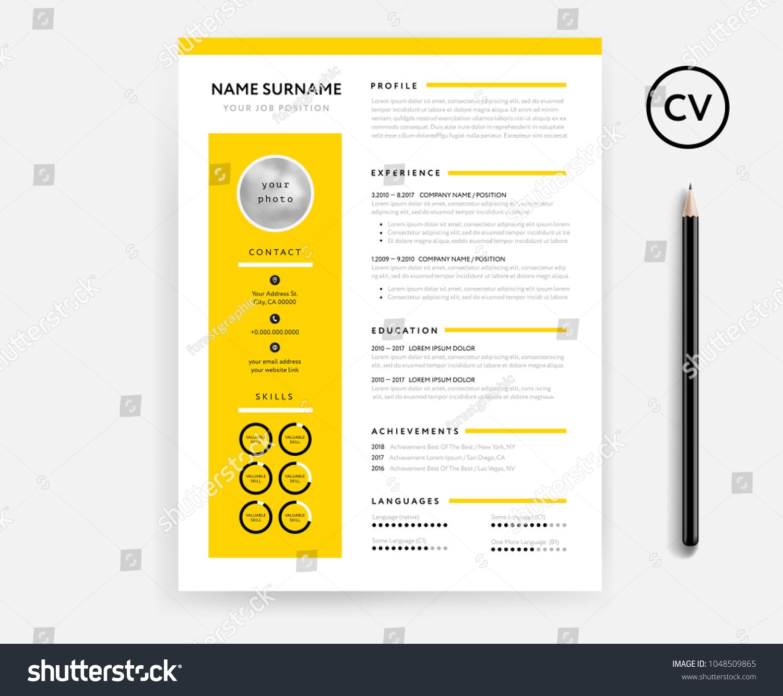 Creative CV Resume Minimal Template Yellow Vector de stock1048509865 ...