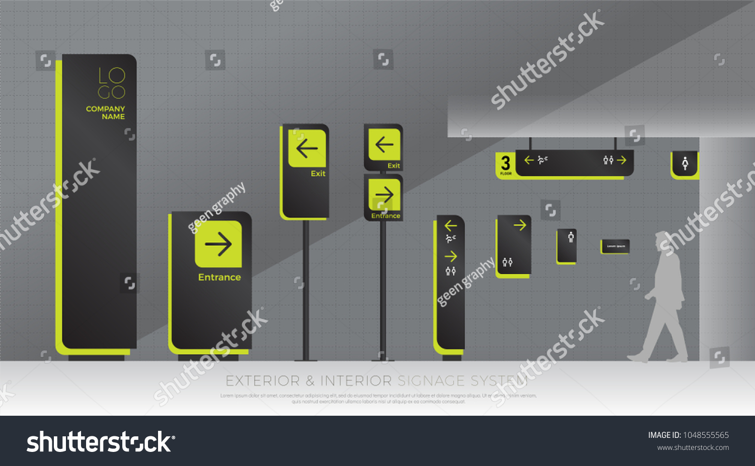 exterior and interior signage system. direction, pole, wall mount and traffic signage system design template set. empty space for logo, text, green and black color corporate identity #1048555565
