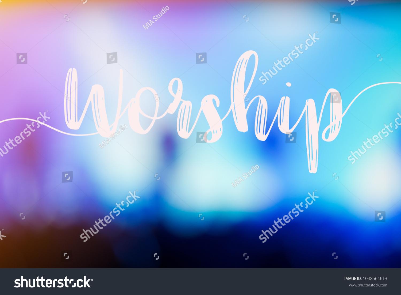Word Worship Hall Church Christian Music Stock Illustration