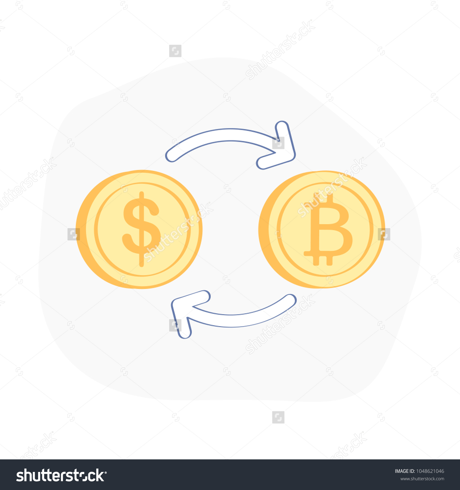 Currency Exchange Symbol Arrow Bitcoin Dollar Stock Vector Royalty