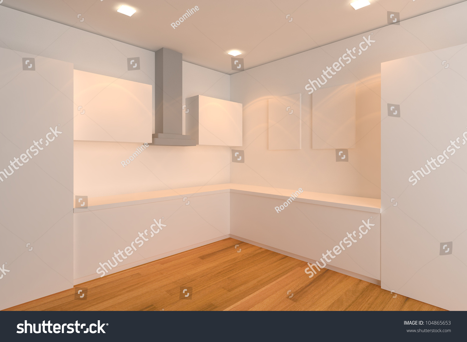 Empty Kitchen Wall Empty Interior Design For Kitchen Room With White Wall Stock