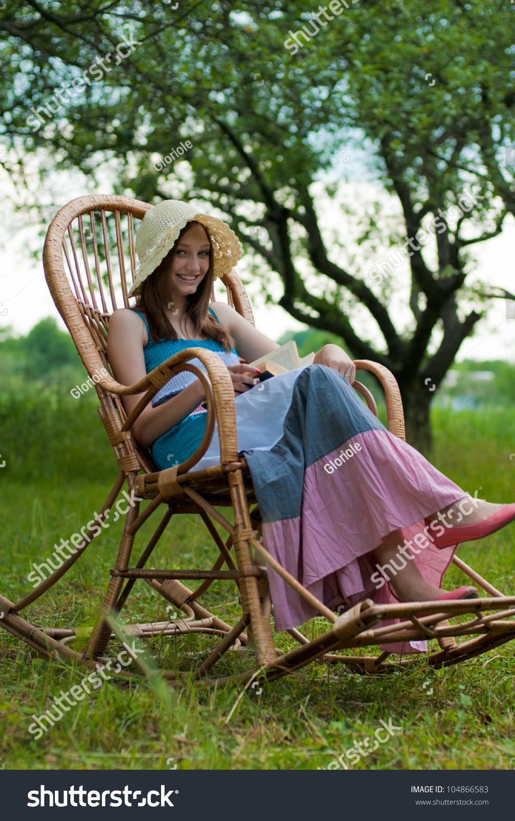 Portrait Beautiful Elegant Young Woman Sitting Stock Shutte