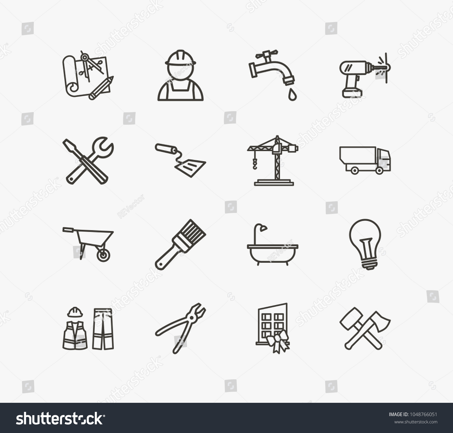 Industrial icon set tools new building stock vector royalty free industrial icon set and tools with new building spatula and engineering blueprint acrylic related malvernweather Gallery