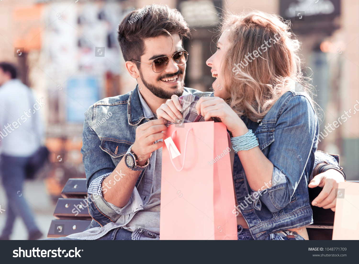 Young Couple Enjoying Shopping Handsome Loving Couple Stock Photo