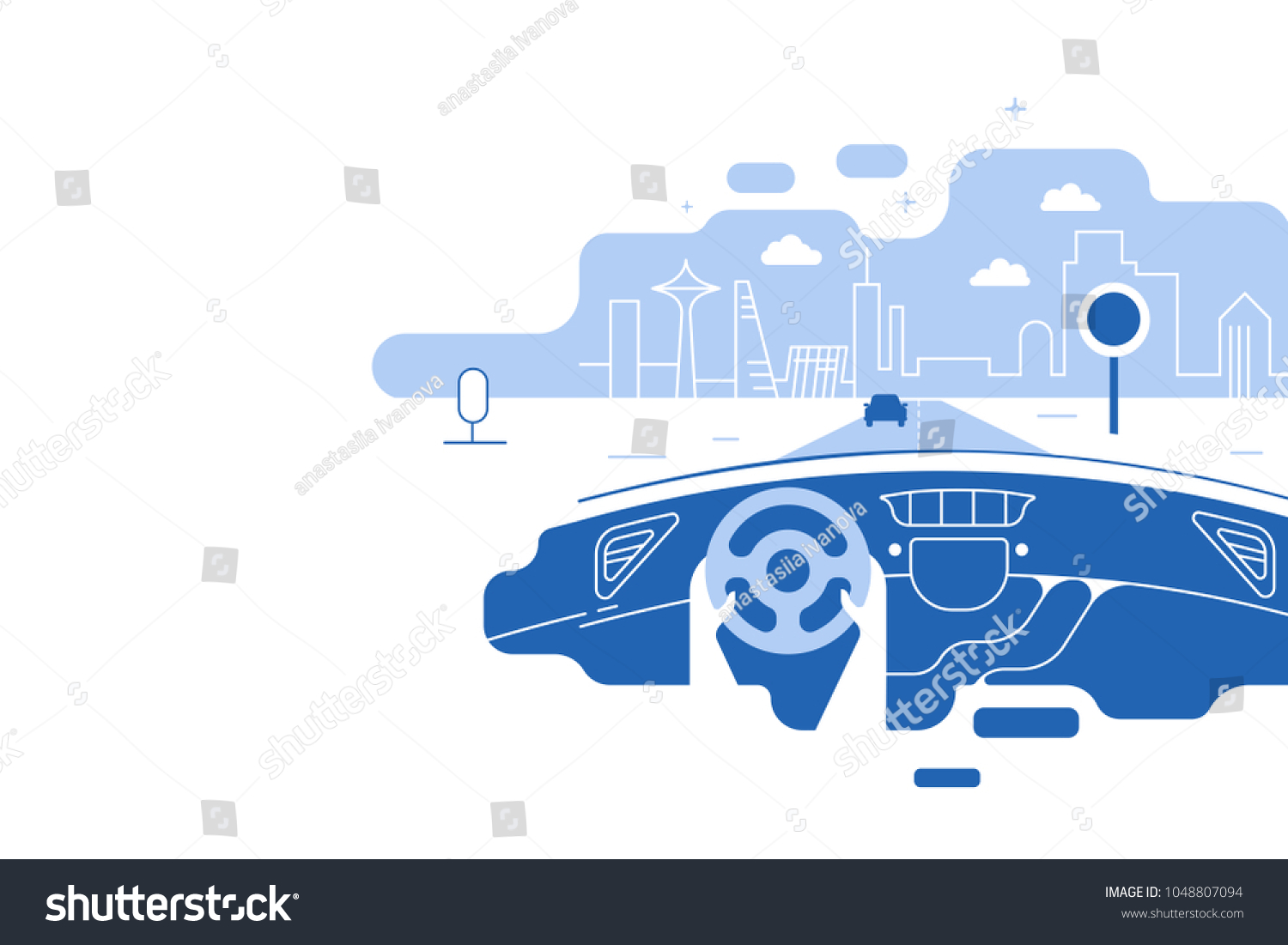 Dashboard car and driver.Hands driving a car on the highway. Drive safely warning billboard.Flat vector illustration. Car on asphalt road with speed limit on highway car interior. background. #1048807094