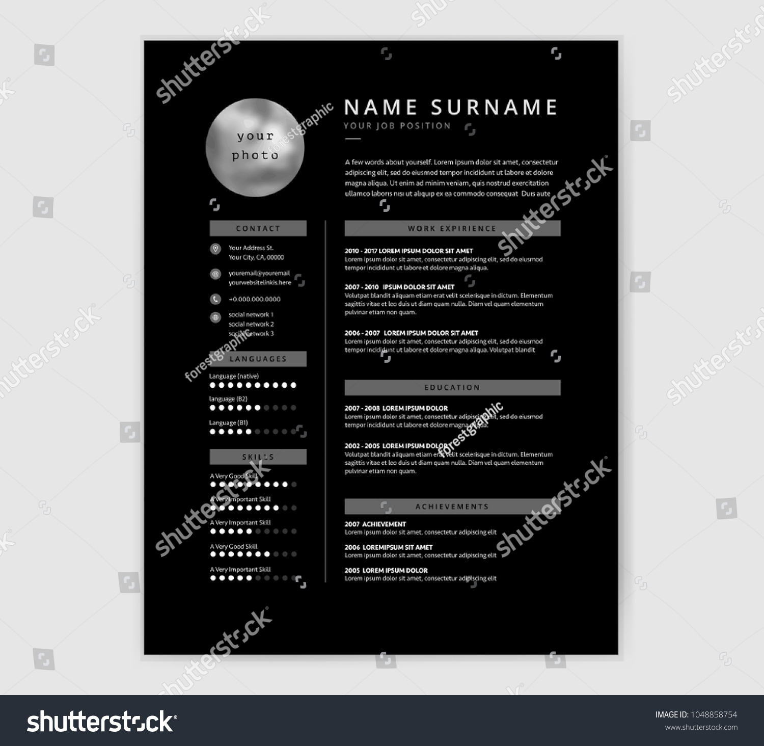 Cool Black Cv Resume Template Design Stock Vector Hd Royalty Free