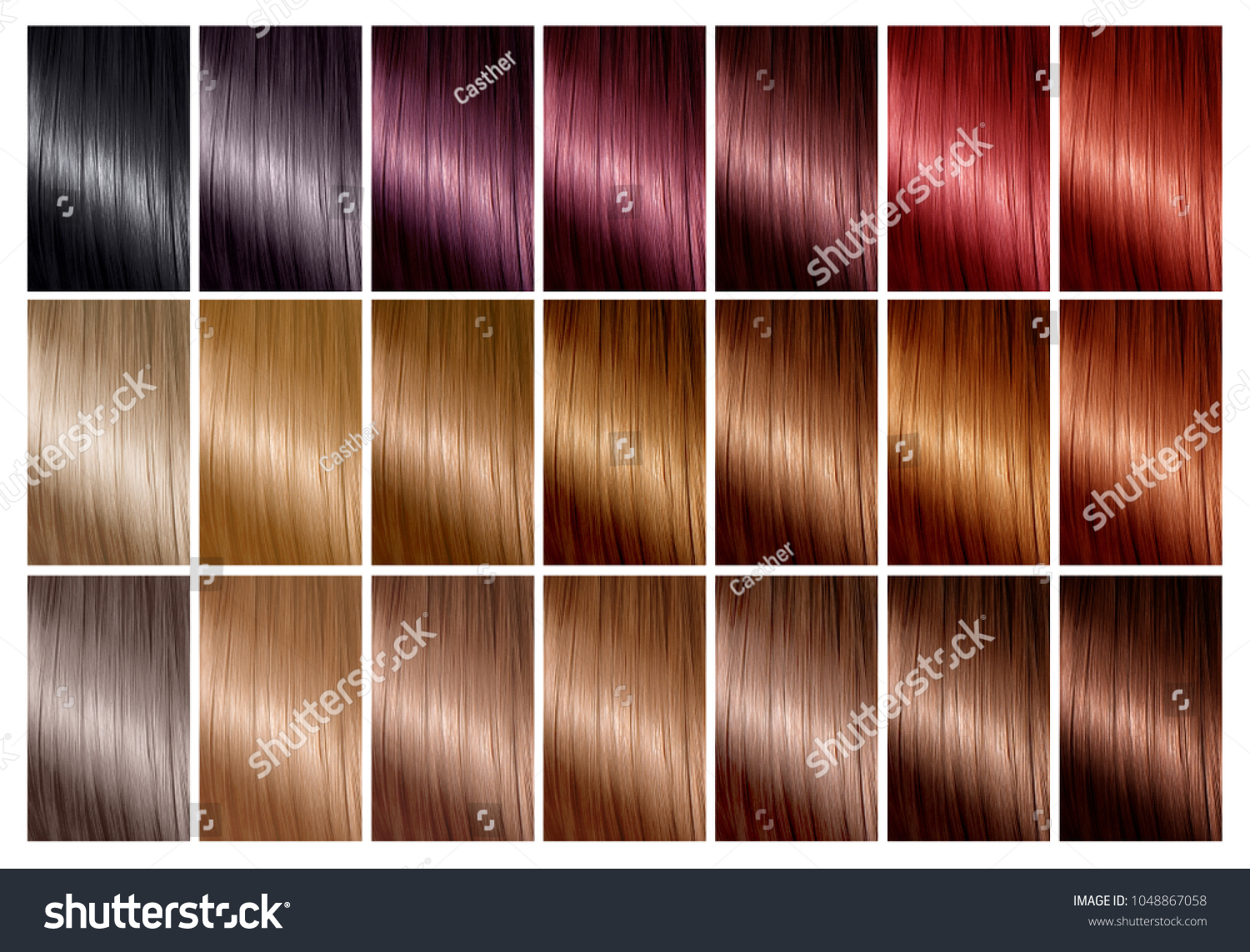 Color Chart Hair Dye Hair Color Stock Photo Edit Now 1048867058