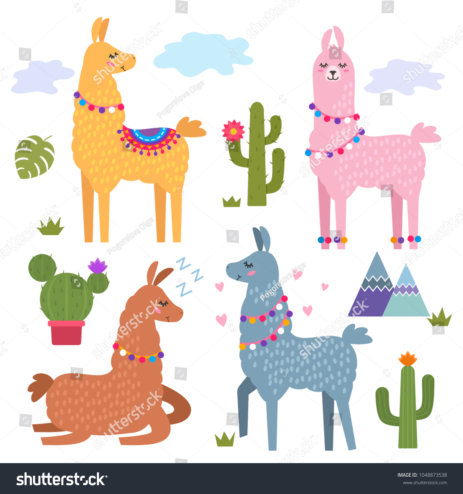 Funny Llama Alpaca Mountains Cactus Childrens Vector de stock (libre ...