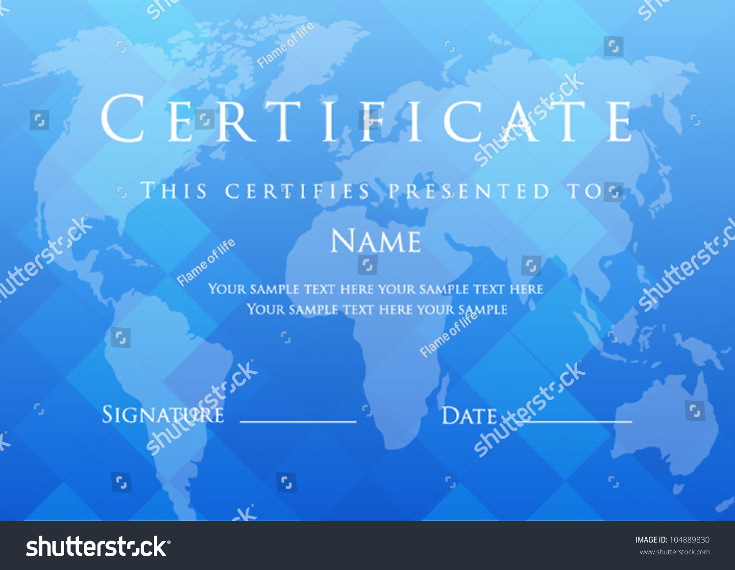Blue Certificate Completion Template Map Background Stock Vector Gift Voucher Of With This Design Usable For Diploma
