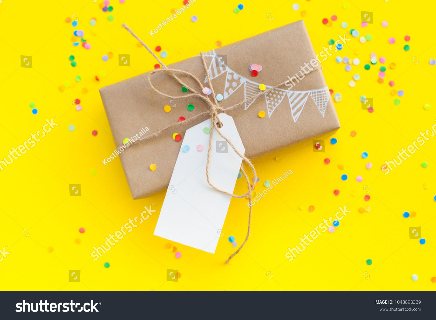 Colored Gift Boxes Jute Rope Yellow Stock Photo Edit Now