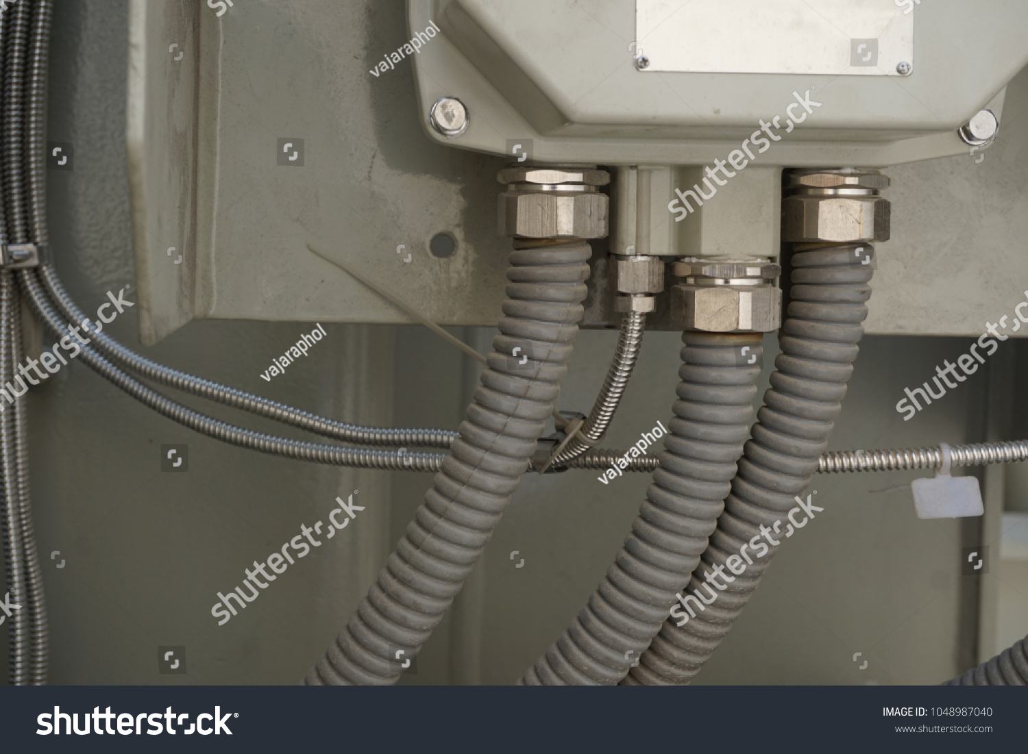 Conduit Wire Protection Connected Bottom Junction Stock Photo Edit Wiring Cable For To Of Box