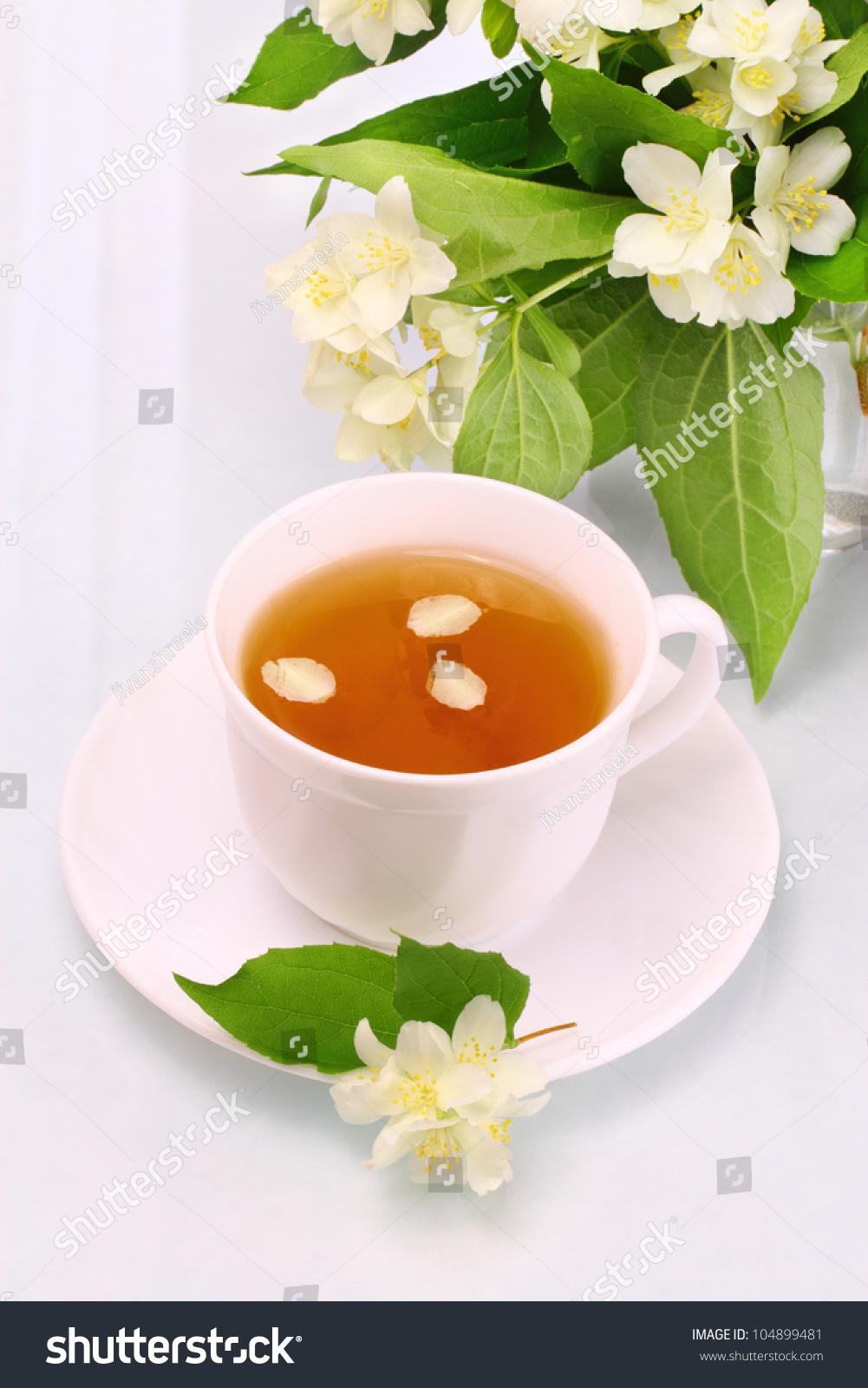 White Cup Jasmine Tea Flowers Stock Photo Edit Now 104899481