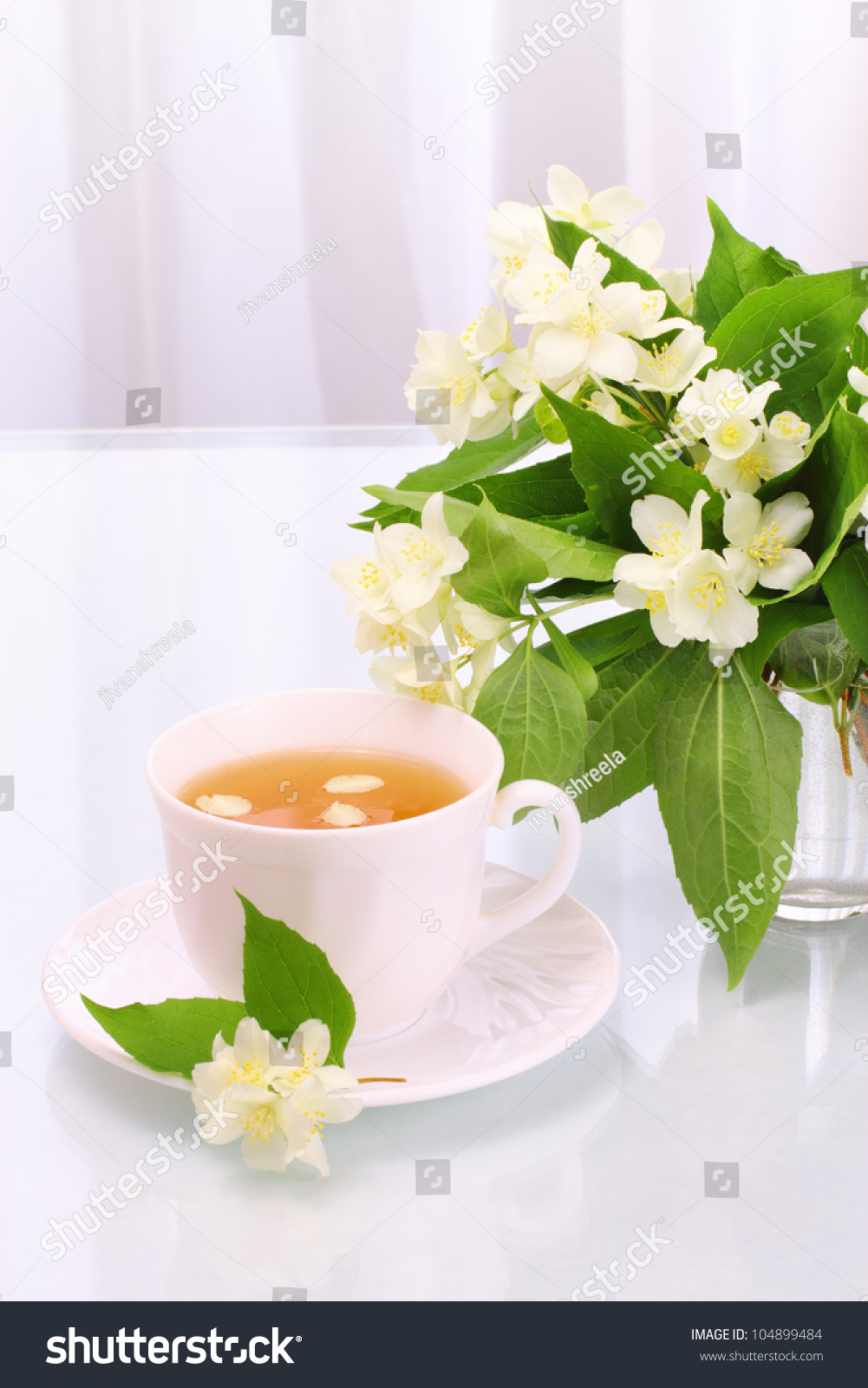 Cup Tasty Jasmine Tea Flowers Stock Photo Royalty Free 104899484